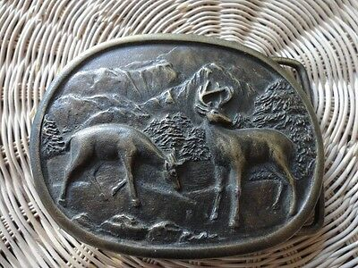 Vintage Brass Belt Buckle Oval 2 Deer Buck Doe Hunting Indiana Metal Craft E97