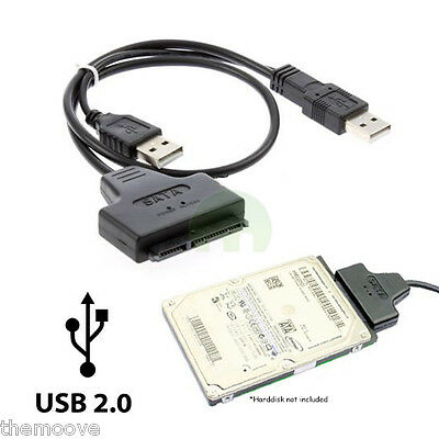 USB 2.0 to SATA 7+15 Pin 22Pin Adapter Cable For HDD Hard Disk Drive AU