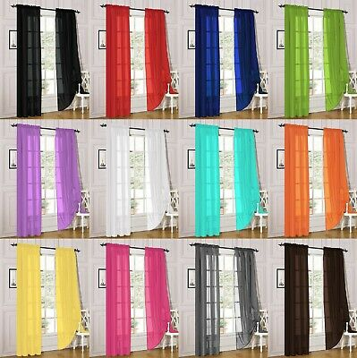 """2 Piece Sheer Voile Window Curtain Panel Treatment Drapes Many Colors, 55""""X84"""""""