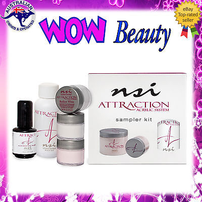 NSI ATTRACTION Sampler Kit - Acrylic Nail Liquid + Powders + Primer + Free Gift