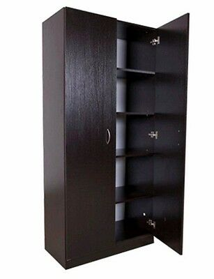 New Two Door Pantry Linen Storage Cupboard / Shelf Wardrobe [Colour: Walnut (Dar