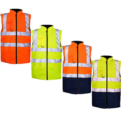 Hi Viz Vis Visibility Fleece Reversible Waterproof Body Warmer Gilet Waistcoat