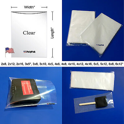 25 - 1000 2Mil Clear Poly Bags Lay-flat Open Top LDPE Plastic 2ml Thick Polybags