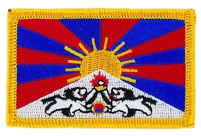 Patch écusson brodé Drapeau TIBET Tibetain FLAG Thermocollant Insigne Blason
