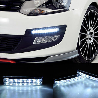 WHITE DRL 2X SLIM FOG DAYTIME DAYLIGHT RUNNING LIGHT LAMP 8 SMD LED CAR USA SHIP