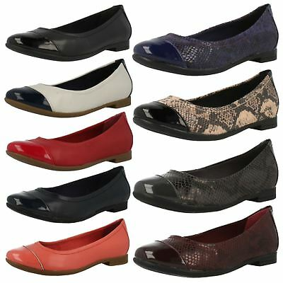 Details about £29.99 SALE LADIES CLARKS LEATHER BALLERINA SLIP ON TOE CAP SHOES ATOMIC HAZE