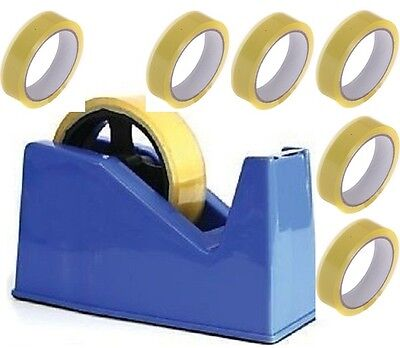 Desktop Heavy Duty Heavy Weight Sellotape Cellotape Tape Dispenser +6 Rolls Tape