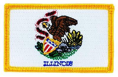 Patch écusson brodé Drapeau ILLINOIS  Thermocollant USA AMERICAIN ETATS UNIS