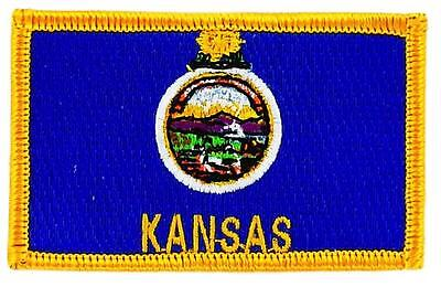 Patch écusson brodé Drapeau KANSAS  Thermocollant USA AMERICAIN ETATS UNIS