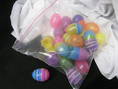 """bag of 24 plastic Easter eggs some striped some plain 2 1/2"""" x 1 3/4"""""""