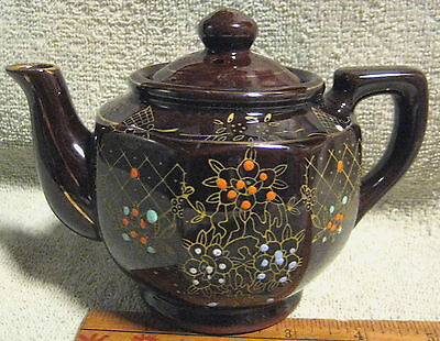 VINTAGE RED POTTERY MORIAGE HAND PAINTED TEA POT JAPAN