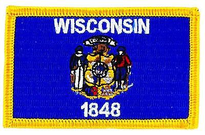 Patch écusson brodé Drapeau wisconsin Thermocollant  USA AMERICAIN ETATS UNIS