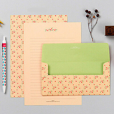 Beautiful Red Flower Letter set - 4sh writing stationary paper 2sh Cute envelope