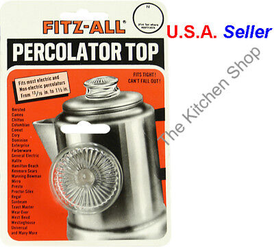 """Tops Replacement Percolator Top Glass Fitz-All 13/16""""- 1-1/2"""" #135 New"""