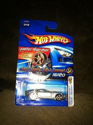 Hot Wheels 2005 New # 16 Ford Shelby GR-1 Concept Reslitix Silver Ghost Stripes