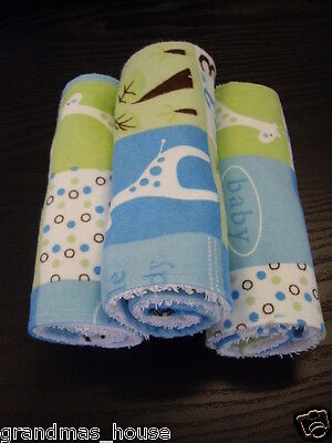Burp Cloths Yellow Set of Three Toweling Backed GREAT GIFT IDEA!!