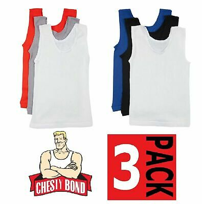 Bonds Boys Kids 3 Pack Chesty Cotton Blue Black White Singlets 4 6 8 10 12 14