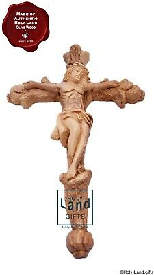 Olive wood cross handmade hand carve crucifix Bethlehem wall hanging Jerusalem