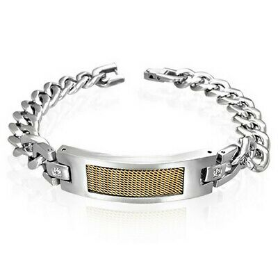 Stainless Steel Silver Yellow Gold Two-Tone Mens Classic Link Chain Bracelet
