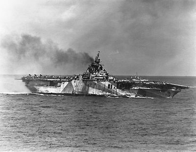 Uss Ticonderoga Cva-14 8X10 Photo Kamikaze Attack By 4 Suicide Planes Jan 1945