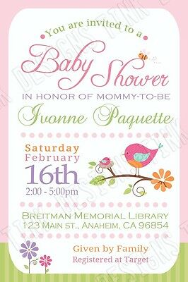 Little Bird Baby Shower invitations Tweet spring nest personalized custom