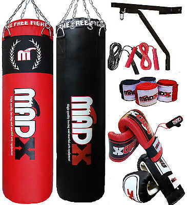 MADX 5ft Filled Heavy Punch Bag Custom Build Set,Chain,Bracket,Gloves,Rope