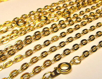 Wholesale 10 Pcs 24 Inch Gold Plated Flat Cable Chains Necklace Lot