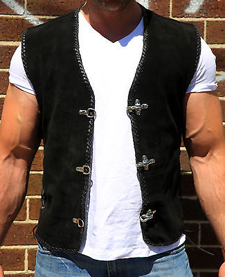 Suede Vest for Biker Harley Rider Premium Grade Metal Clasps Sons of Anarchy