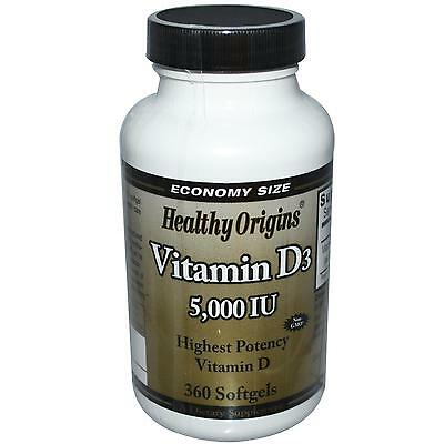 Vitamin D3 - 360 - 5000iu Softgels - by Healthy Origins - The Sunshine Vitamin