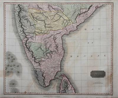 1816 Southern Hindoostan - Large Antique Thomson Map - India, Ceylon, Hand Color