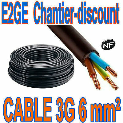 50 ML CABLE RO2V 3G 6 mm²  NF COURONNE SPECIAL ELECTRICITE ELECTRIQUE  NEUF