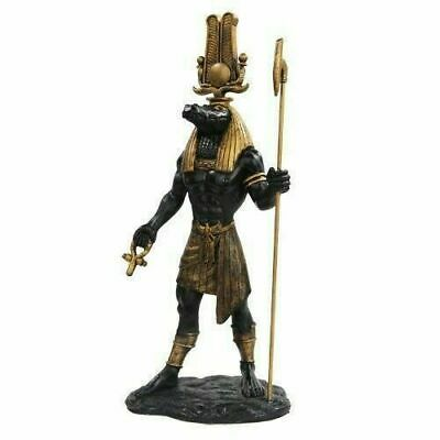 Ancient Egyptian Decor Nile Crocodile Sobek God Black & Gold Figurine Statue