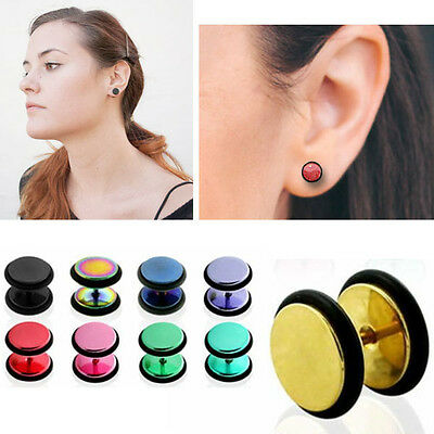 Pair Metallic Surgical Steel Illusion Fake Plug for Pierced Ears Post & O Ring