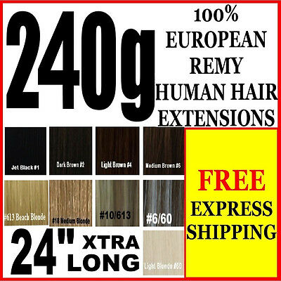 "Extra Thick Full Head 24"" Inch Long Clip In 100% Remy Human Hair Extensions"