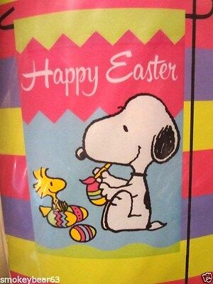 """PEANUTS GANG  """"HAPPY EASTER"""" Small  Garden Flag SNOOPY"""