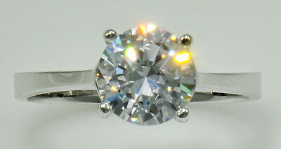 3 ct Ring Extra Brilliant C Z Imitation Moissanite simulant Sz 6 Sterling Silver