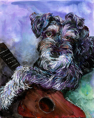 """SCHNAUZER 8X10 DOG print by Artist Sherry Shipley """"GETTING HIS GROOVE ON"""""""