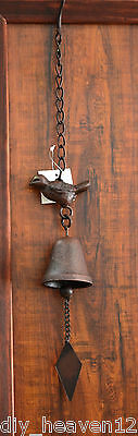 Hand Made Bird Hanging Bell Cast Iron- 52cm Long Stressed Aged Look Brand New