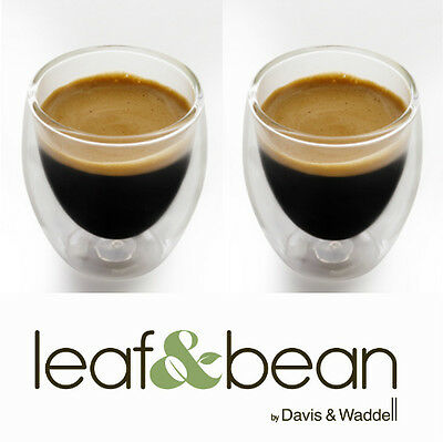 Davis & Waddell Latte Espresso Coffee Double Dual Wall Thermo Glasses 280ml x  2