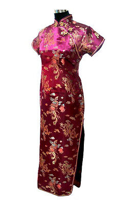 01a35497b17a Vtg Oriental Women Burgundy Long Chinese Evening Prom Dress Gown Cheongsam  Qipao