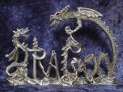 Dramatic Pewter DRAGON WORD with Crystals - Satin Matte Finish.