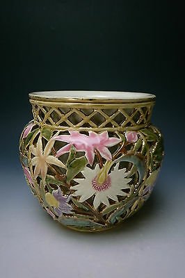 Antique 19th Century Zsolnay Reticulated Porcelain Jardinière