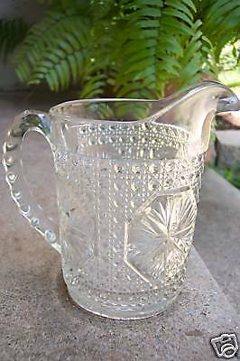 EAPG Clear Star Medallion Imperial Glass Milk Pitcher FREE SHIPPING