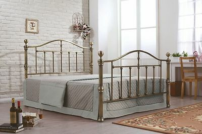 Victorian Nickel & Antique Brass Traditional Style Metal Bed in 4ft6 & 5ft Size