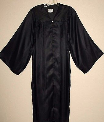 Black Shiny Graduation Gown Clergy Choir Judge Robe Costume Many Sizes