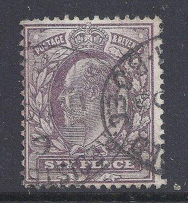 GB 1902-1910 SG245 KEVII 6d PALE DULL PURPLE FINE USED