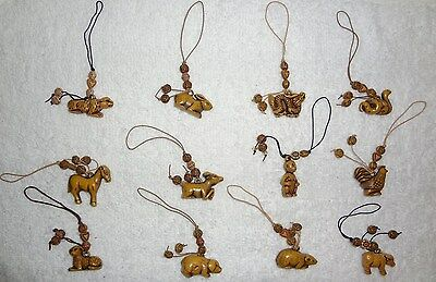 Chinese Zodiac Set Of 12 Animals For Mobile Cell Phone & Hand Bag Strap Charms
