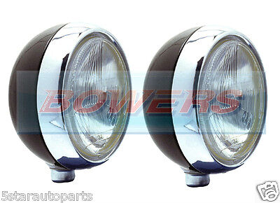 "Pair Of Stainless Steel Chrome 7"" Inch Cibie Oscar H4 Spot/driving Lamps/lights"