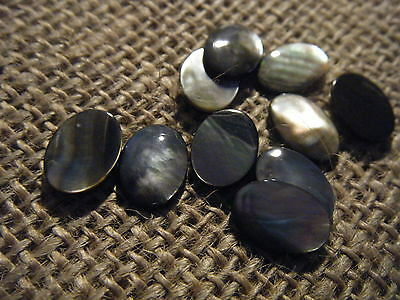 1 10x8mm Gemstone Oval Flat Cabochon Black Lip Mother of Pearl Natural Shell