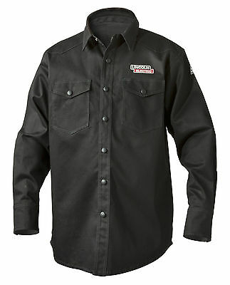 Lincoln Black Fire Retardant FR Welding Shirt Size 2XL K3113-2XL